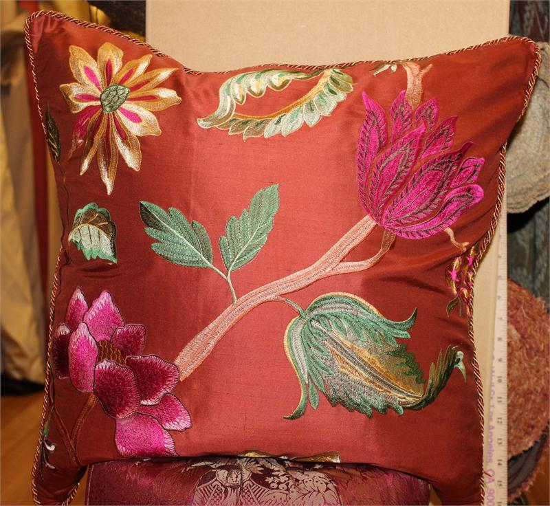 Throw Pillow Embroidered Silk Dupioni Kona Rust Fuchsia