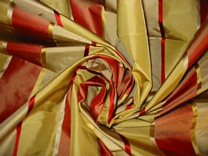 Sabu Collection - Yellow, Platinum & Red Silk Taffeta with Satin Stripes