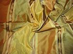 Satin Silk Collection - Copper, Yellow and Sage Silk Taffeta with Satin and Grosgrain Stripes