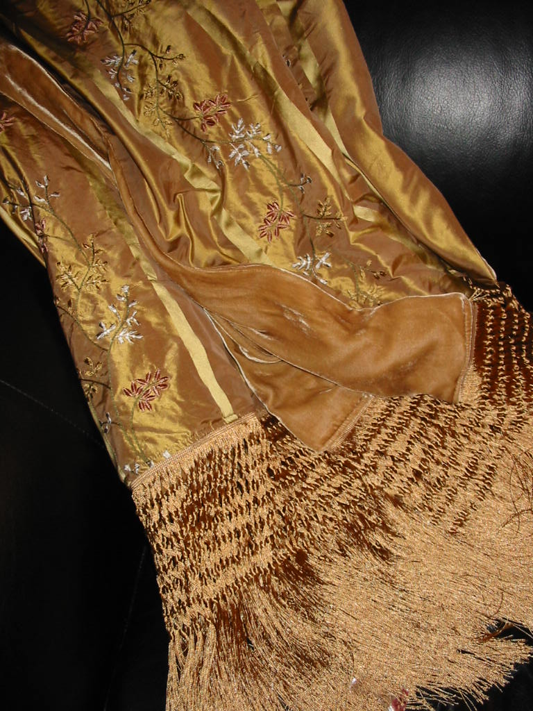 Embroidered Silk Taffeta backed in Sunset Strip Silk Velvet in Gold and finished in extra long Chainette Fringe
