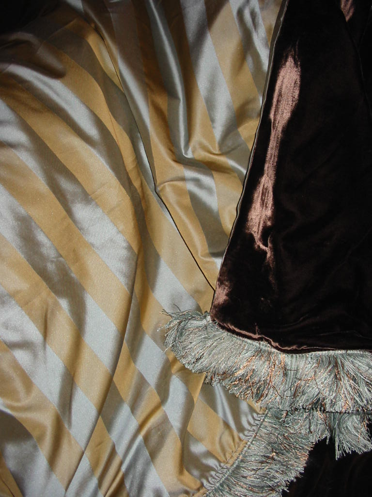 Striped Satin Silk backed in Sunset Strip Silk Velvet in Chocolate and finished in Brush Fringe