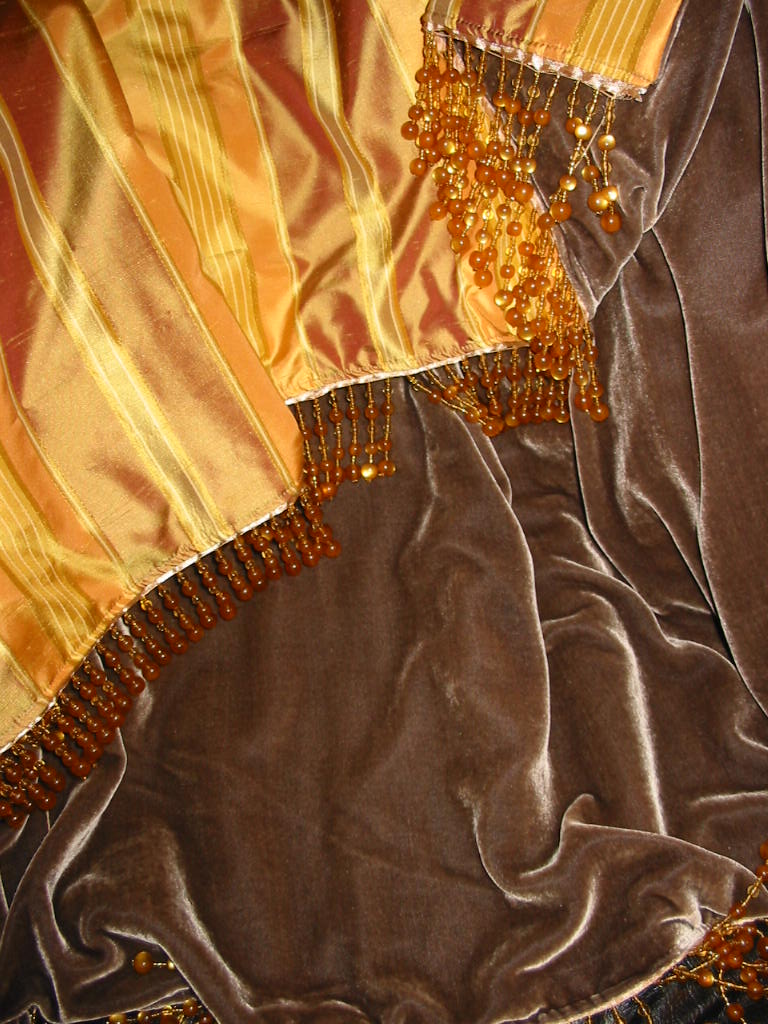 Striped Silk Dupioni backed in Sunset Strip Silk Velvet in Espresso and finished in Bead Trim