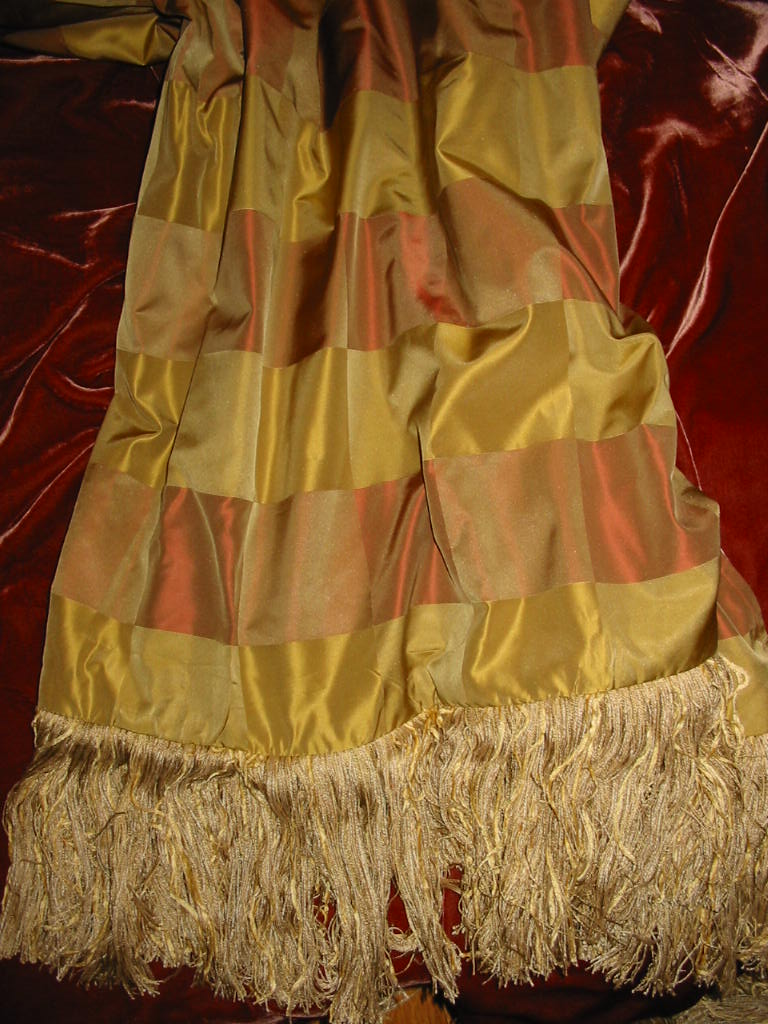 Plaid Silk Taffeta backed in Sunset Strip Silk Velvet in Raw Umber and finished with Eyelash Trim