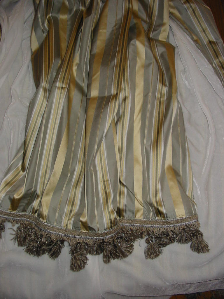 Striped Silk Satin backed in Sunset Strip Silk Velvet in White and finished in Tassel Trim