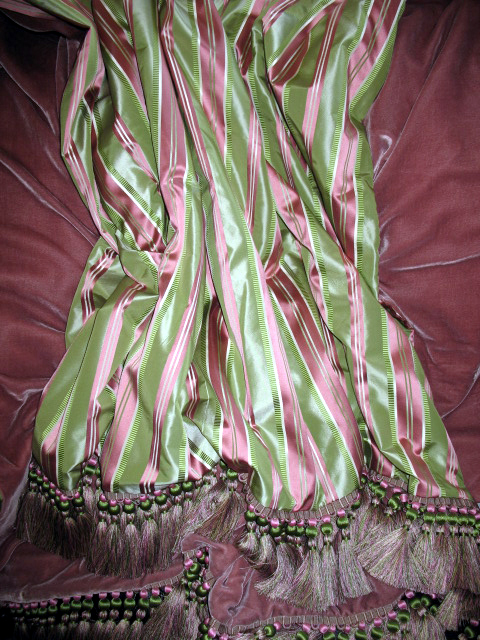 Striped Silk Taffeta in Oval Office in Pink & Green backed in Sunset Strip Silk Velvet in Dusty Rose finished with Coda Trim in Pink & Green