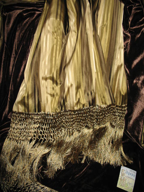 Striped Satin Silk backed in Sunset Strip Silk Velvet in Chocolate and finished in extra long trim
