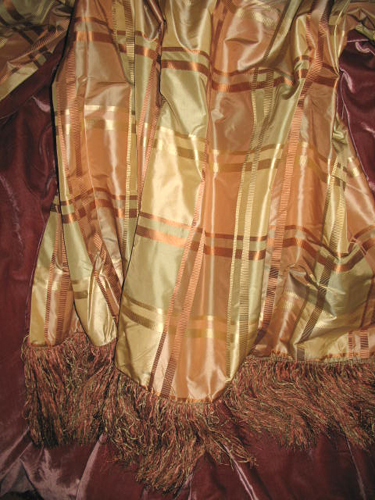 Euro Plaid Silk Taffeta backed in Sunset Strip Silk Velvet in Raw Umber and finished with long fringe trim