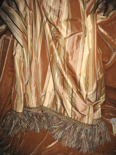 Striped Silk Taffeta in Mauricio Butterum backed in Sunset Strip Silk Velvet in Sienna and finished in Ribbon Trim