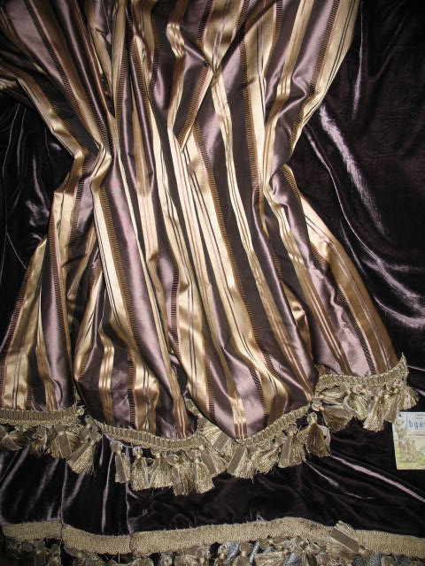 Striped Silk Taffeta in The Oval Office in Plum backed in Sunset Strip Silk Velvet in Plum and finished with Tassel Trim