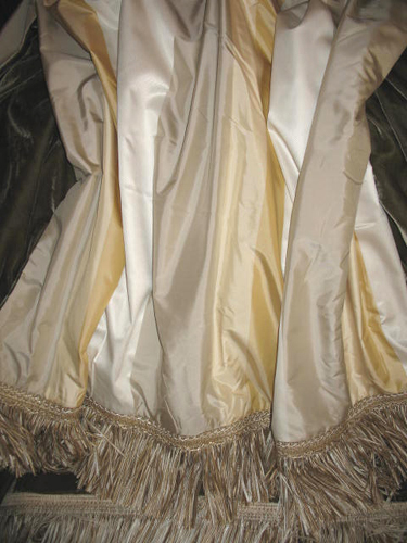 Striped Silk Taffeta backed in Sunset Strip Silk Velvet in Concrete and finished in Fringe Trim