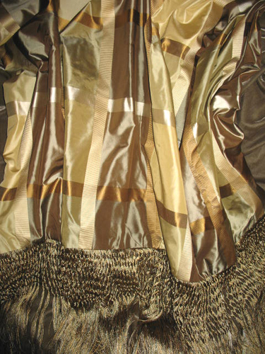 Plaid Silk Taffeta backed in Sunset Strip Silk Velvet in Taupe and Finished in Extra Long Trim