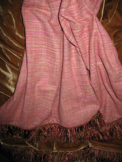 Pink Wool Blend backed in Sunset Strip Silk Velvet in Gold and finished in fringe trim