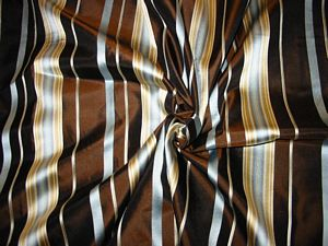Satin Silk Collection - Dark Chocolate with Blue & Gold Stripes