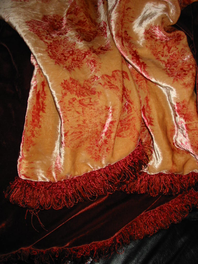 Velvet Toile backed in Sunset Strip Silk Velvet in Cranberry and finished in Braided Chainette Loop Fringe