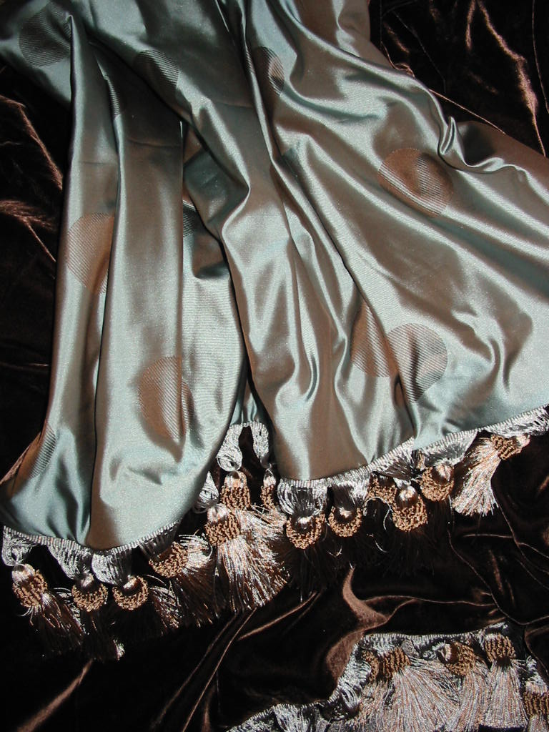 Satin Silk in Polka Dots Blue & Chocolate backed in Sunset Strip Silk Velvet in Chocolate and finished in Tassel Trim