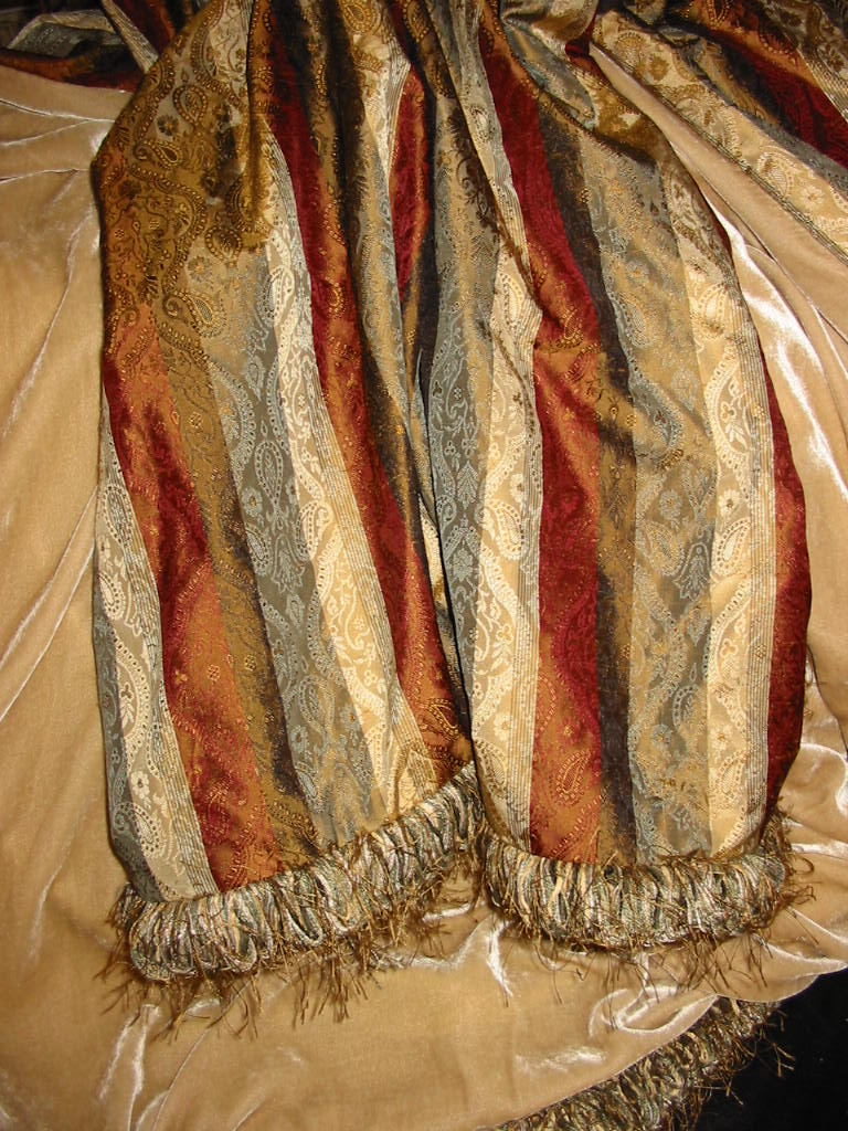 Striped Paisely Brocade backed in Sunset Strip Silk Velvet in Sand and finished in Loop Fringe